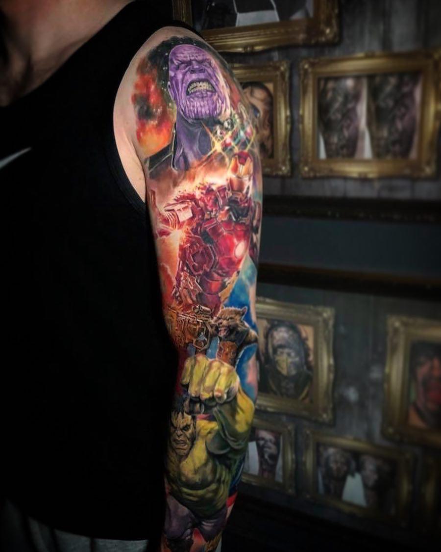 Тату Рукав Команда Мстителей и Танос