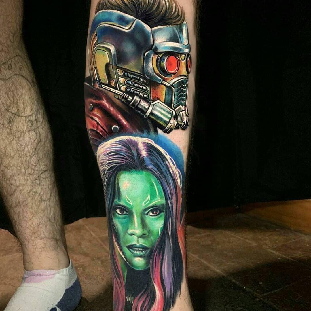 Татуировка Гамора и Звездный Лорд на Ноге