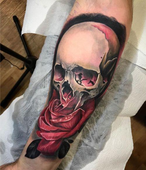 Крутая Татуировка Черп и Роза