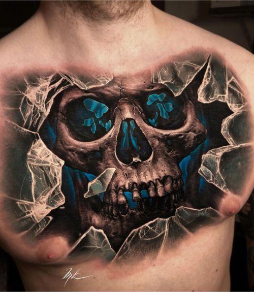 Огромная Татуировка Череп и Разбитое Стекло