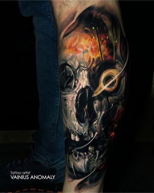 Татуировка Череп на Ноге Парня