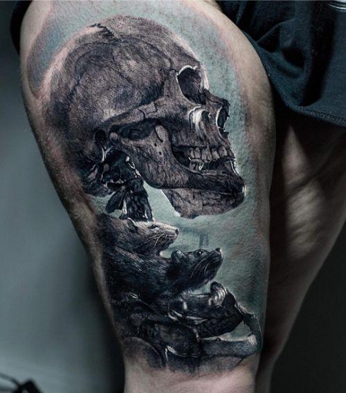 Красивая Татуировка Череп и Крысы