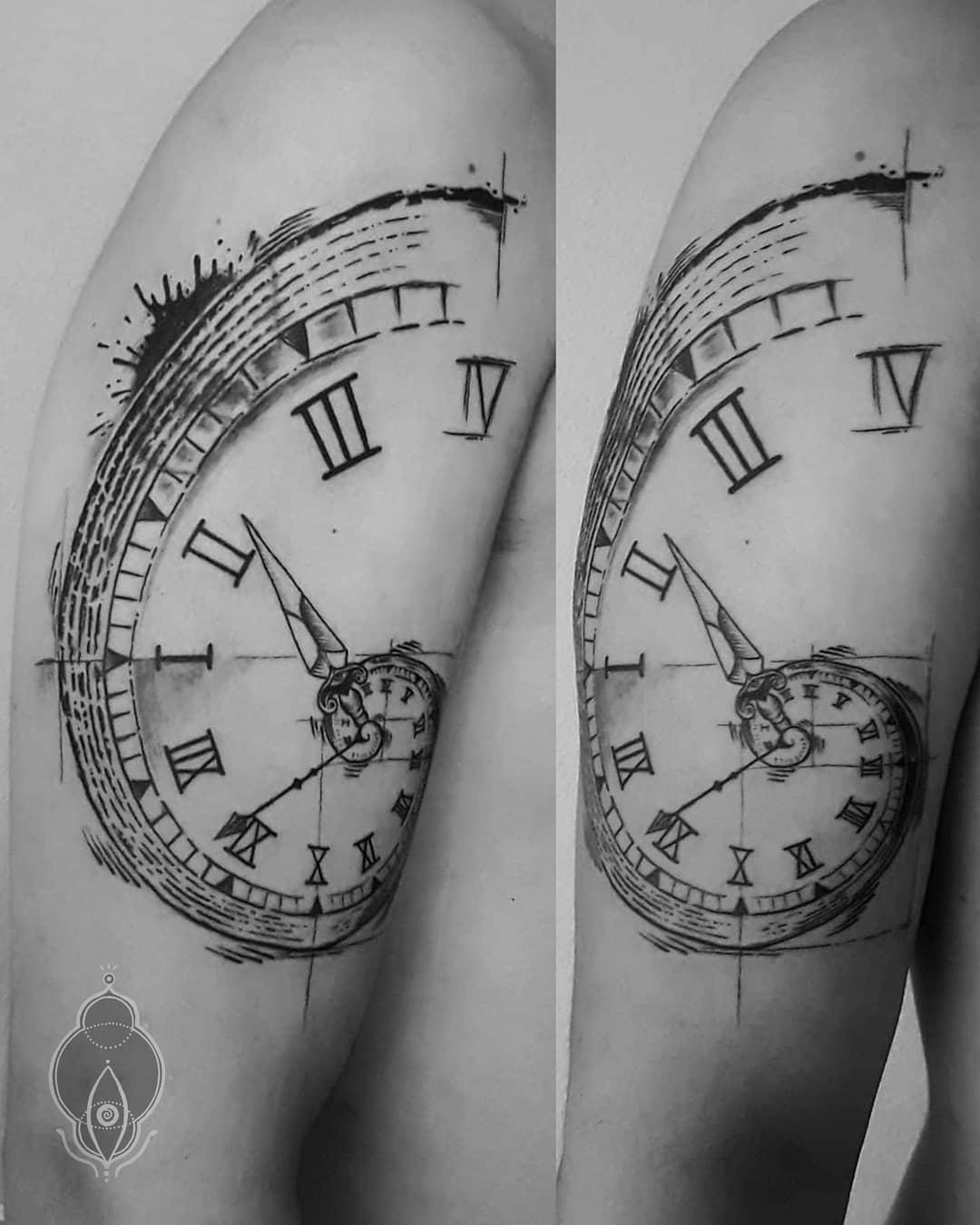 Простая Татуировка Часы Спираль