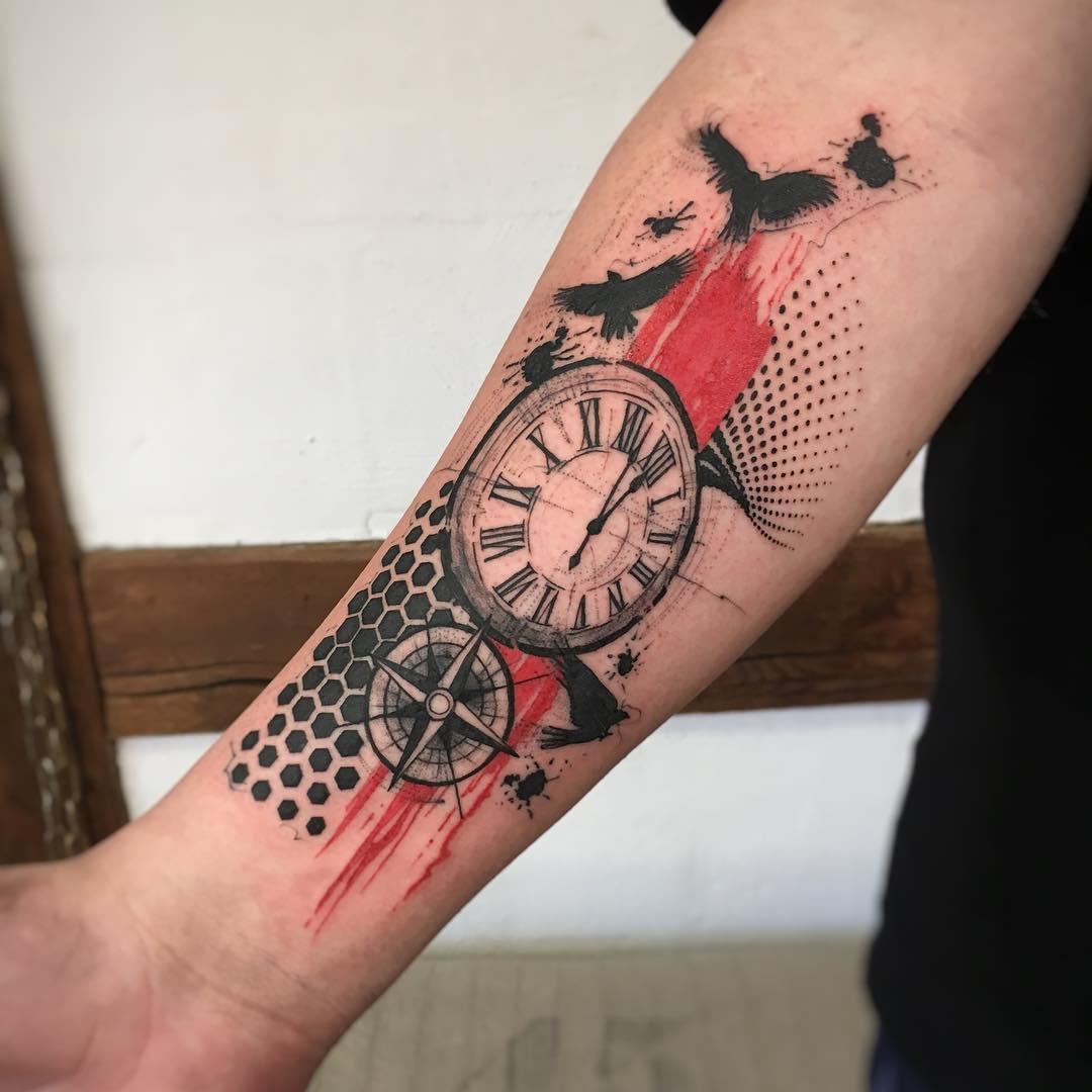 Тату Карманные Часы и Роза Ветров