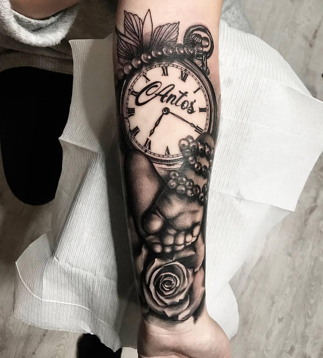 Тату Карманные Часы с Надписью