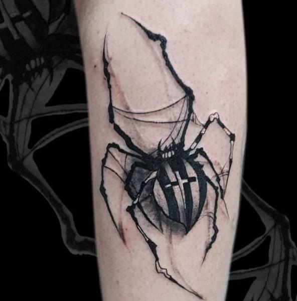 Татуировка Паук с Крестом на Брюхе