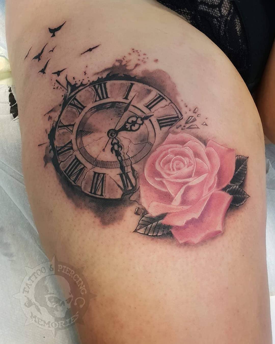 Татуировка Часов с Розой Дял Девушек