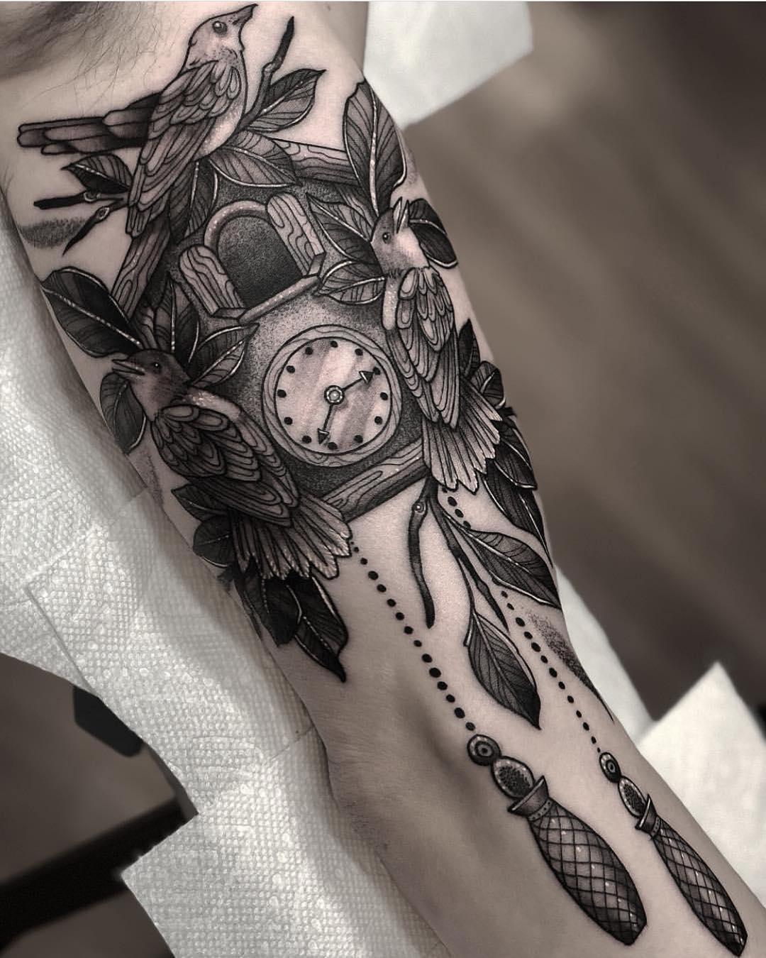 Татуировка Настенные Часы с Птицами