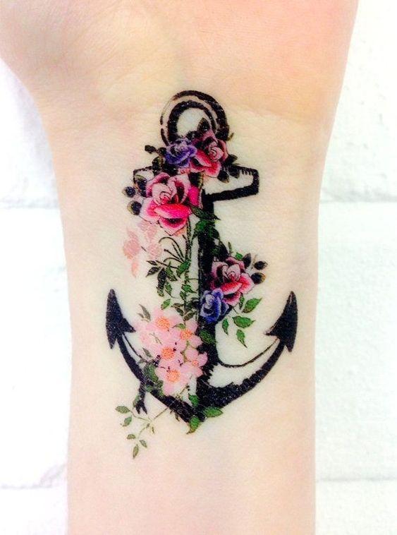Цветная Татуировка Якорь с Цветами