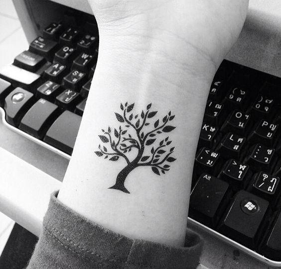 Темная Тату Дерева на Руке