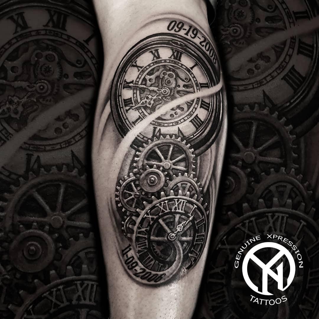 Шикарная Татуировка Часов с Датами