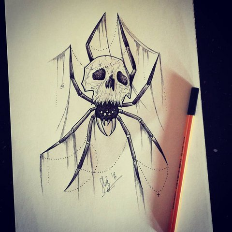Эскиз татуировки паук