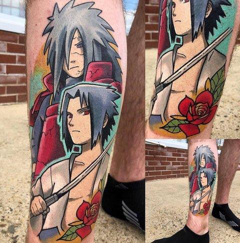 Игровая тату аниме Наруто на ноге