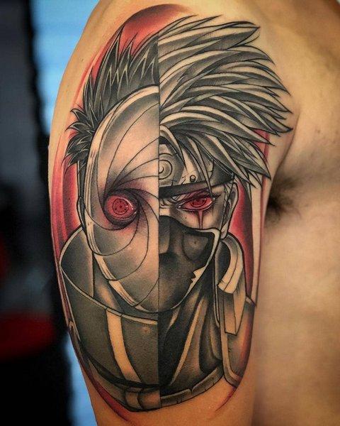 Игровые тату Наруто аниме Какаши на плече