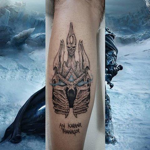 Игровая тату Варкрафт король Лич на руке