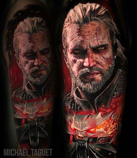 Татуировка Геральта из игры Ведьмак на руке