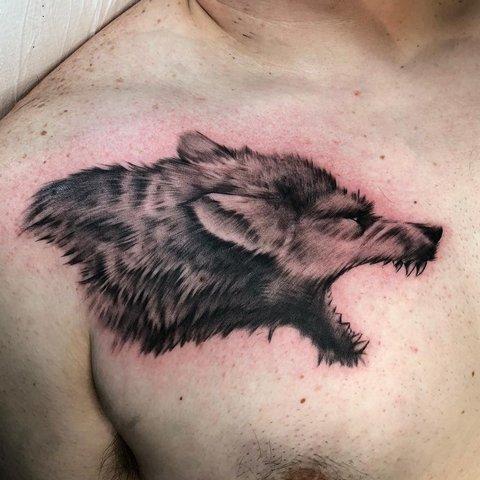 Мужская тату волк с оскалом на груди