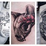 Крутые татуировки череп животного: более 50 фото