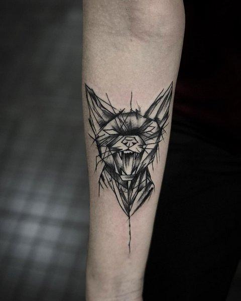Значение татуировки кошка для девушек и мужчин, египетские кошки, сфинкс, головва кошки, черная, крылья, лапки