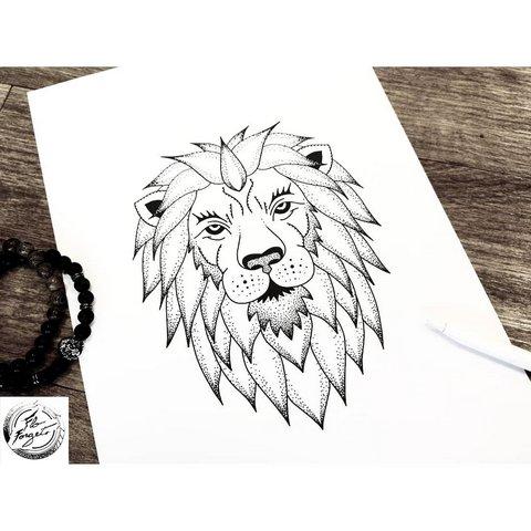 Эскиз татуировки лев для девушек