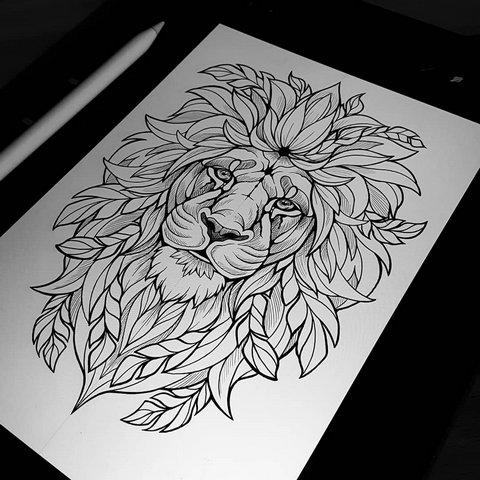 Эскиз голова льва с большой гривой