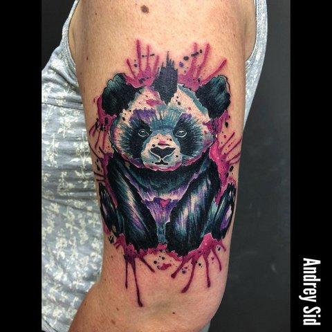 Цветная татуировка панды