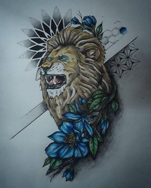 Эскиз льва с голубимы цветами