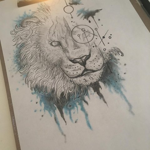 Оригинальный эскиз льва