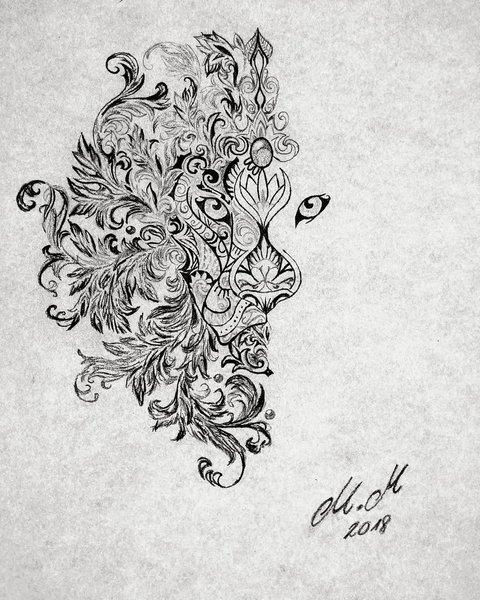 Женский эскиз льва