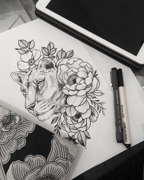 Эскиз тату львица в цветах