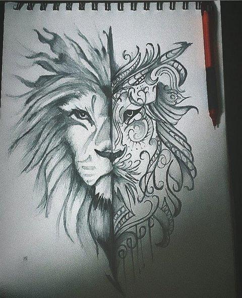 Татуировка лев для девушек