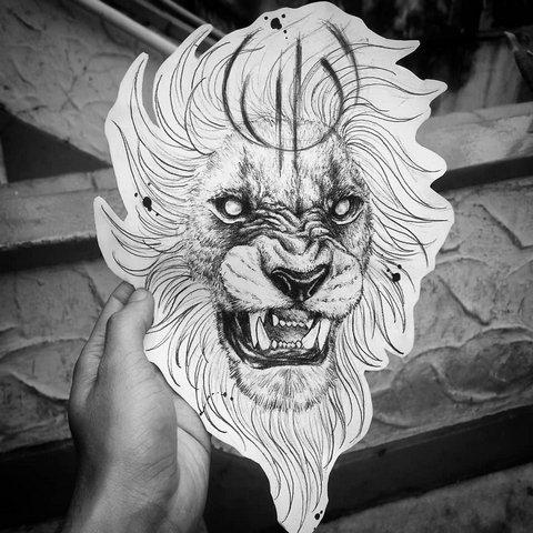 Эскиз льва для женщин