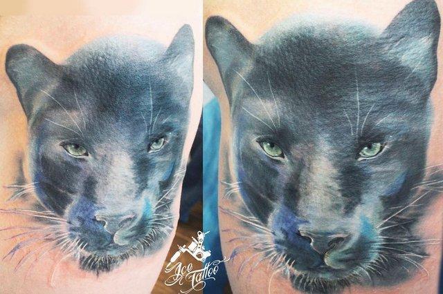 Красивая цветная тату голова пантеры