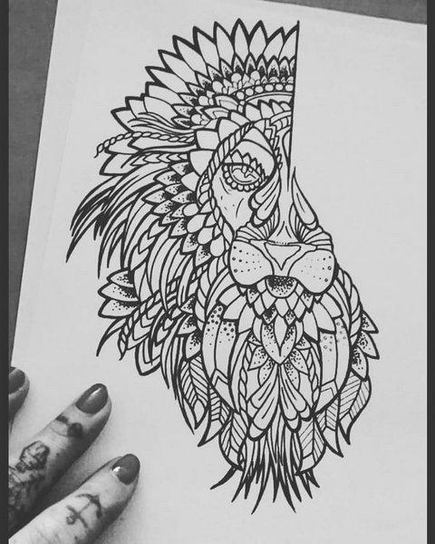 Эскиз татуировки льва