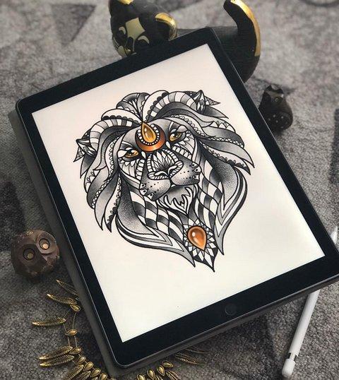 Крутой эскиз головы льва с узорами