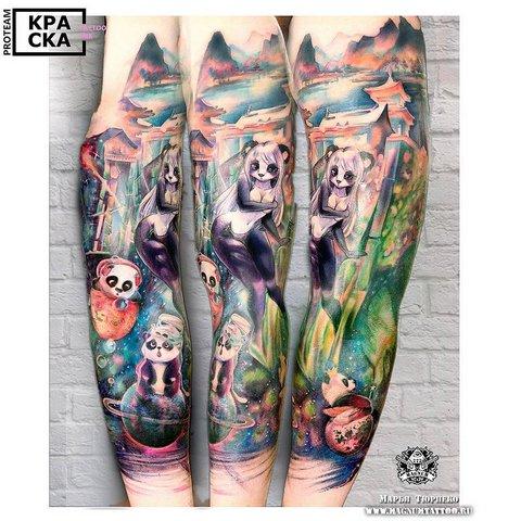 Цветной рукав с пандами
