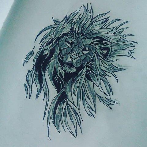 Голова льва в стиле геометрия
