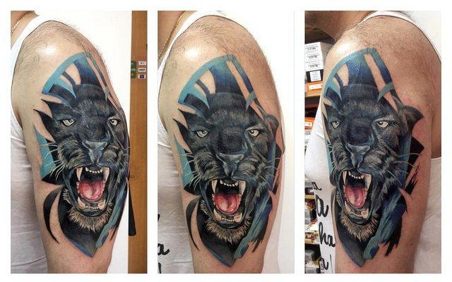 Мужская тату пантера