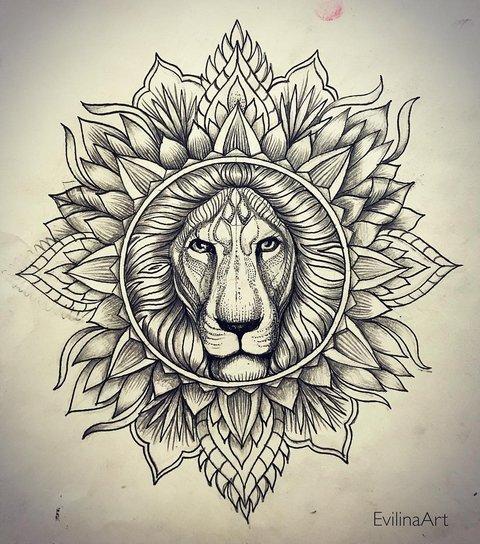 Татуировка льва с узорами