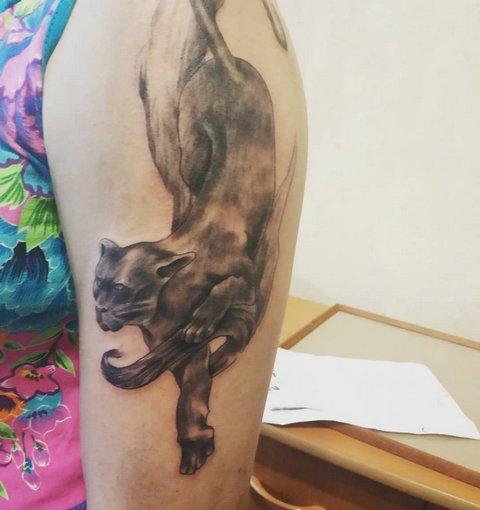Женская татуировка пантеры на плече