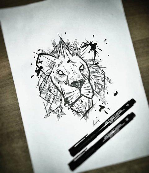 Простой эскиз льва