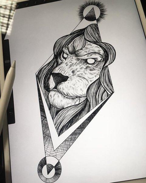 Крутой эскиз головы льва