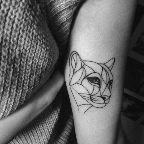 Легкая татуироввка голова пантеры