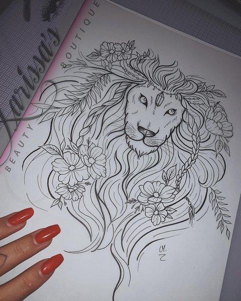 Эскиз лев для девушек