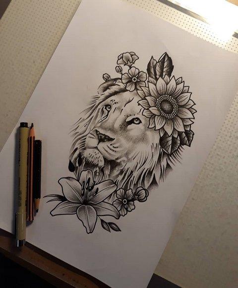 Рисунок льва с цветком