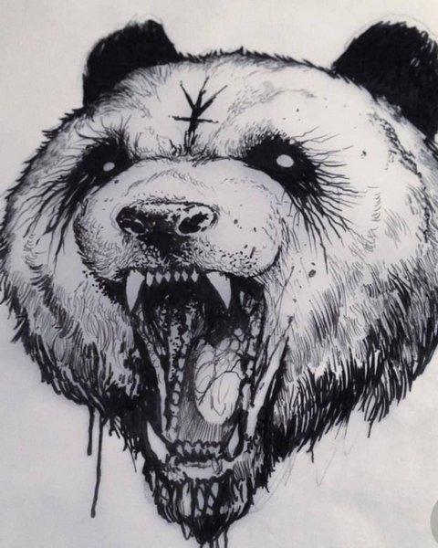 Эскиз татуировки злая панда