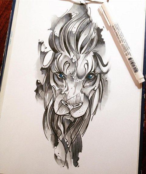 Эскиз головы льва для девушек