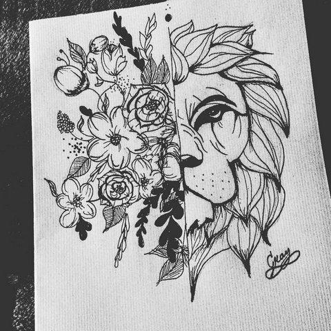 Лев и цветы