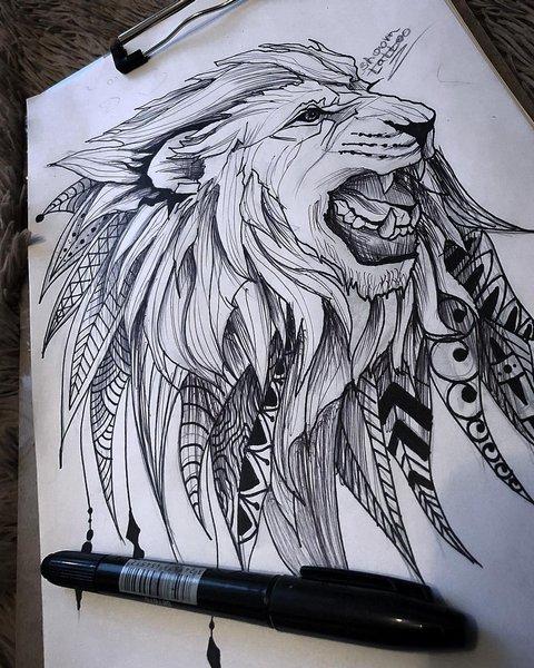 Эскиз рычащий лев