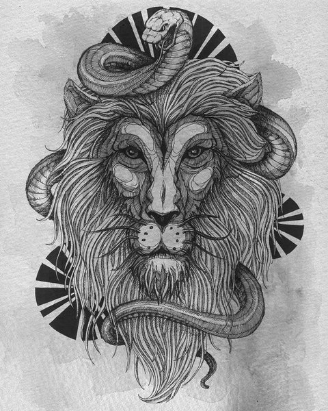 Крутой эскиз тату лев и змея